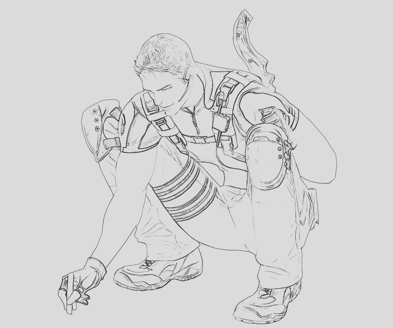 resident evil chris redfield coloring