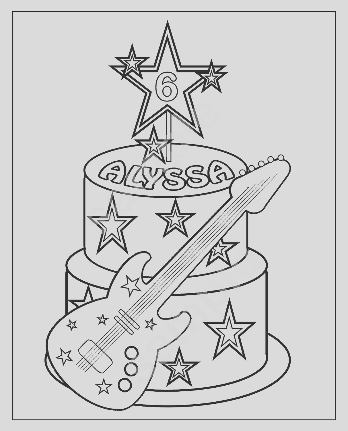 personalized printable rockstar cake