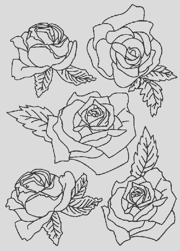 picture of roses for flower bouquet coloring page