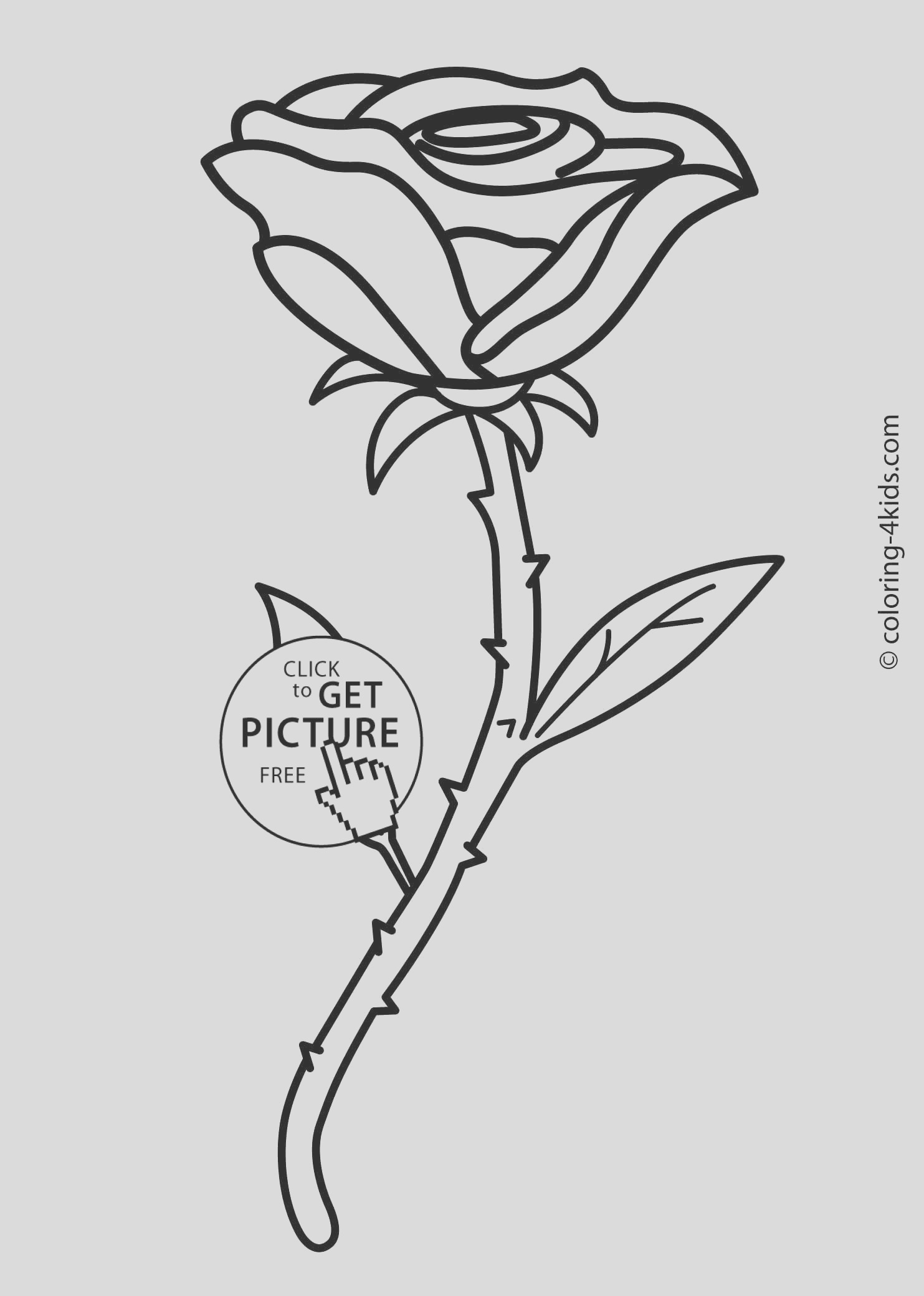 rose flower coloring pages for kids printable 1