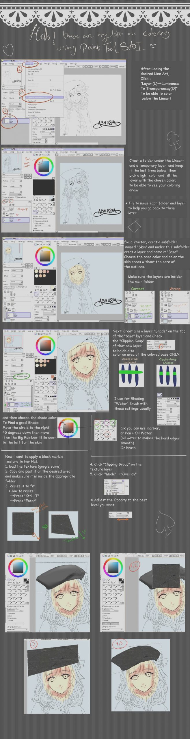 lineart coloring tips paint tool sai