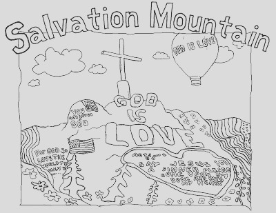 salvation mountain coloring page and