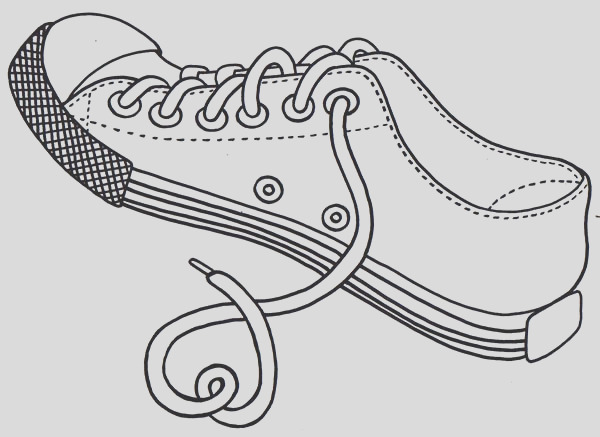untied shoes rope coloring page