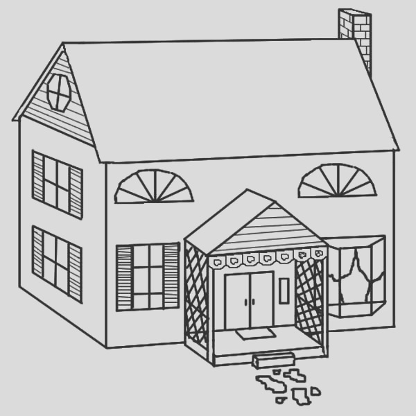 simple drawing of houses coloring page