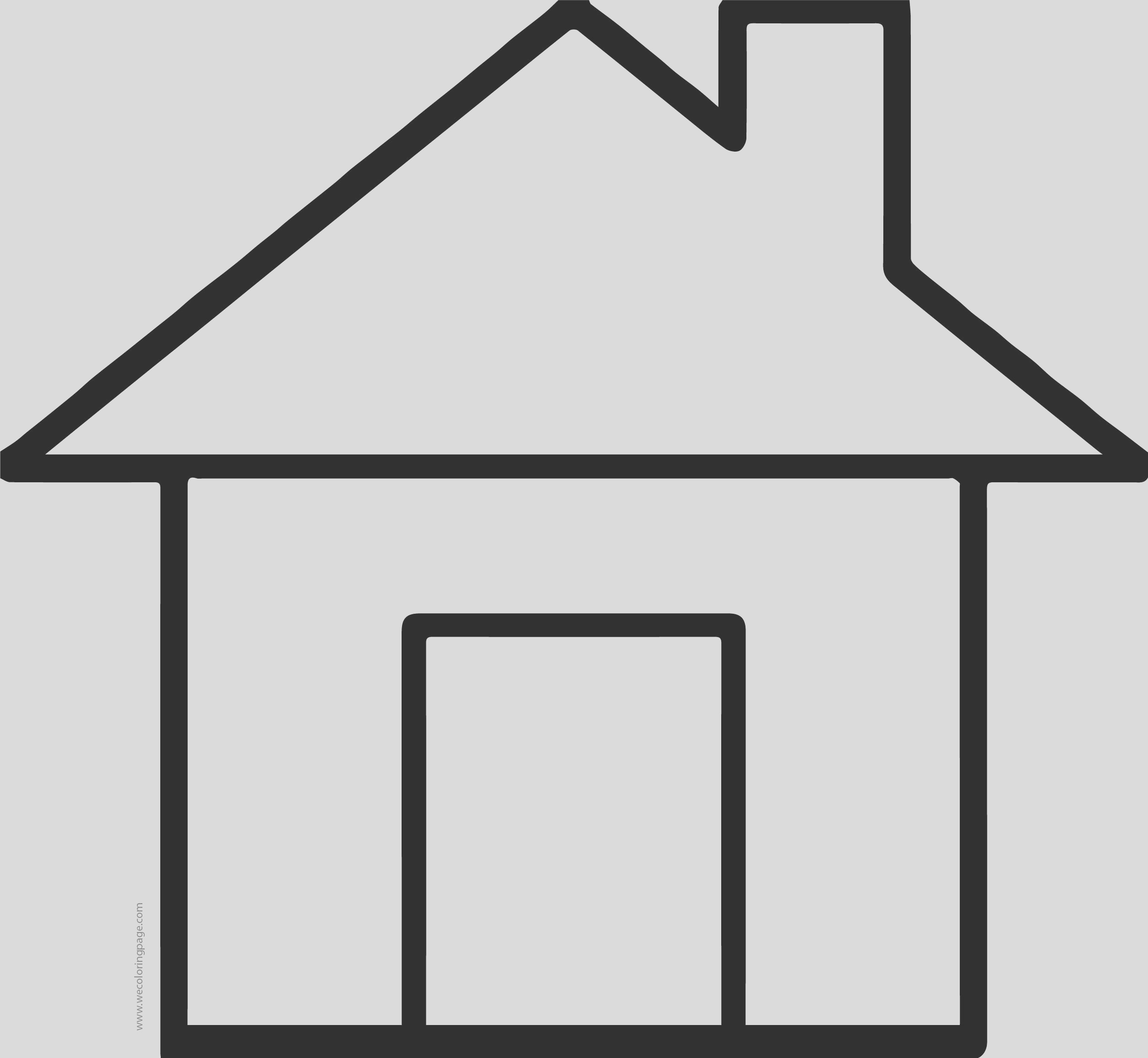 cute house simple basic coloring page