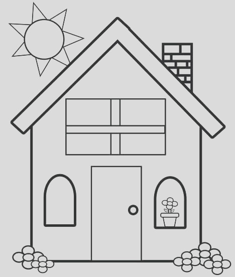 simple house coloring pages
