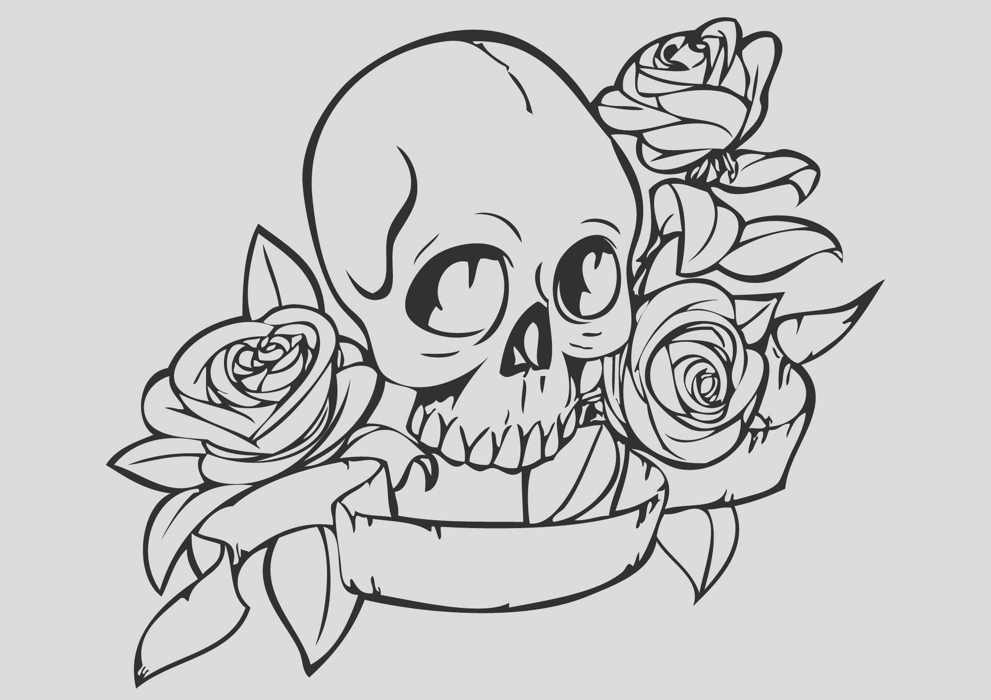 skull and rose drawing easy