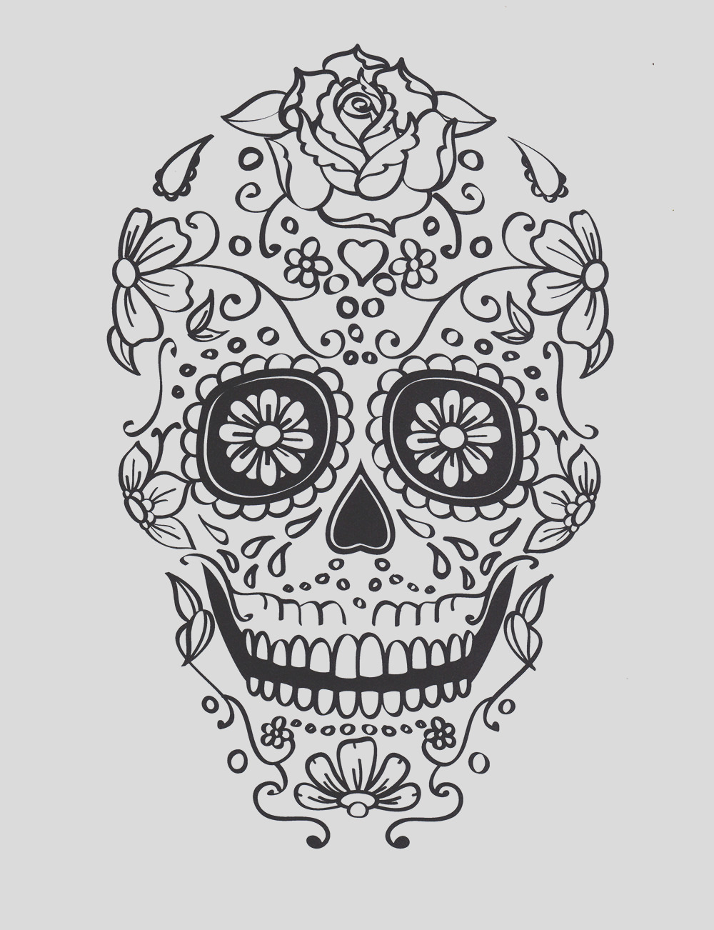 five different sugar skull coloring
