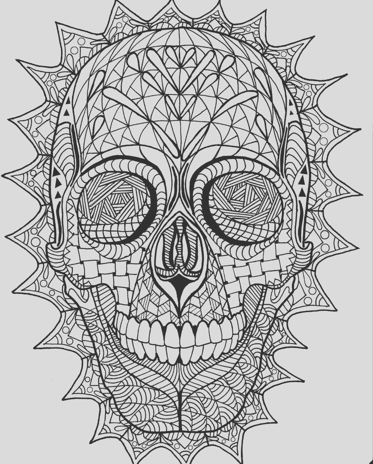 sugar skull zentangle coloring page