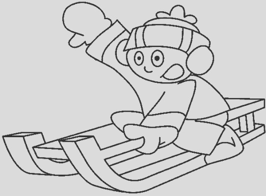 sledding boy kids coloring pages