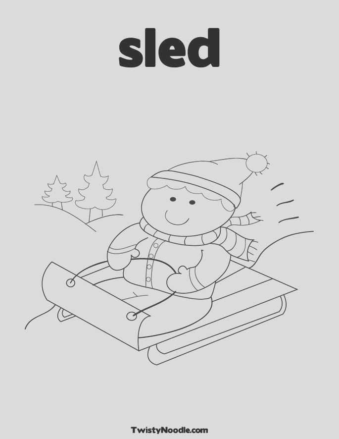sledding coloring pages
