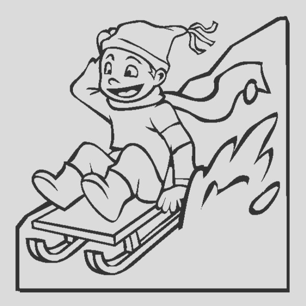 happy kid slidding on winter season sled coloring page