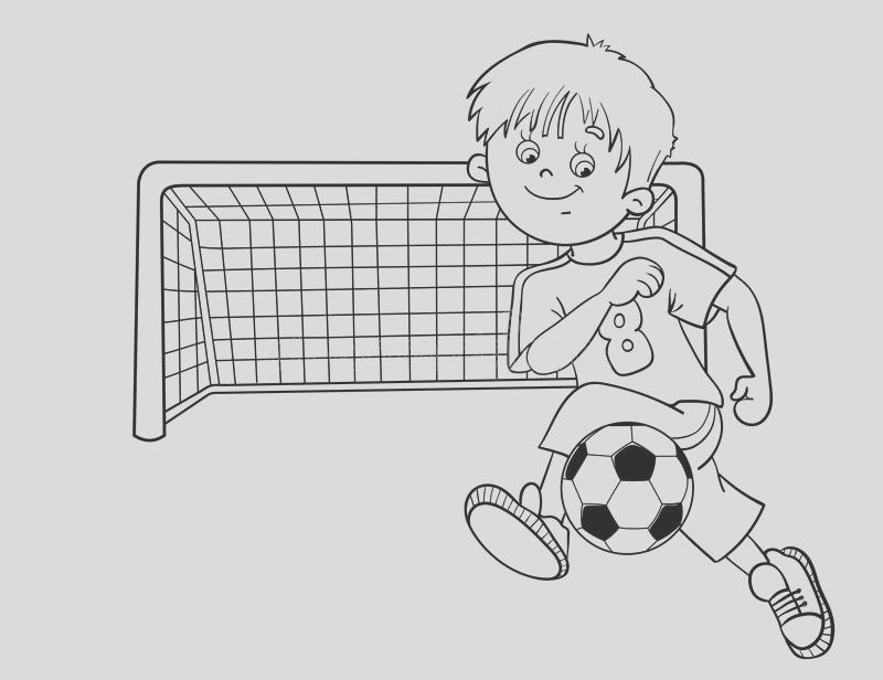 stock illustration coloring page outline soccer boy cartoon ball football goal image