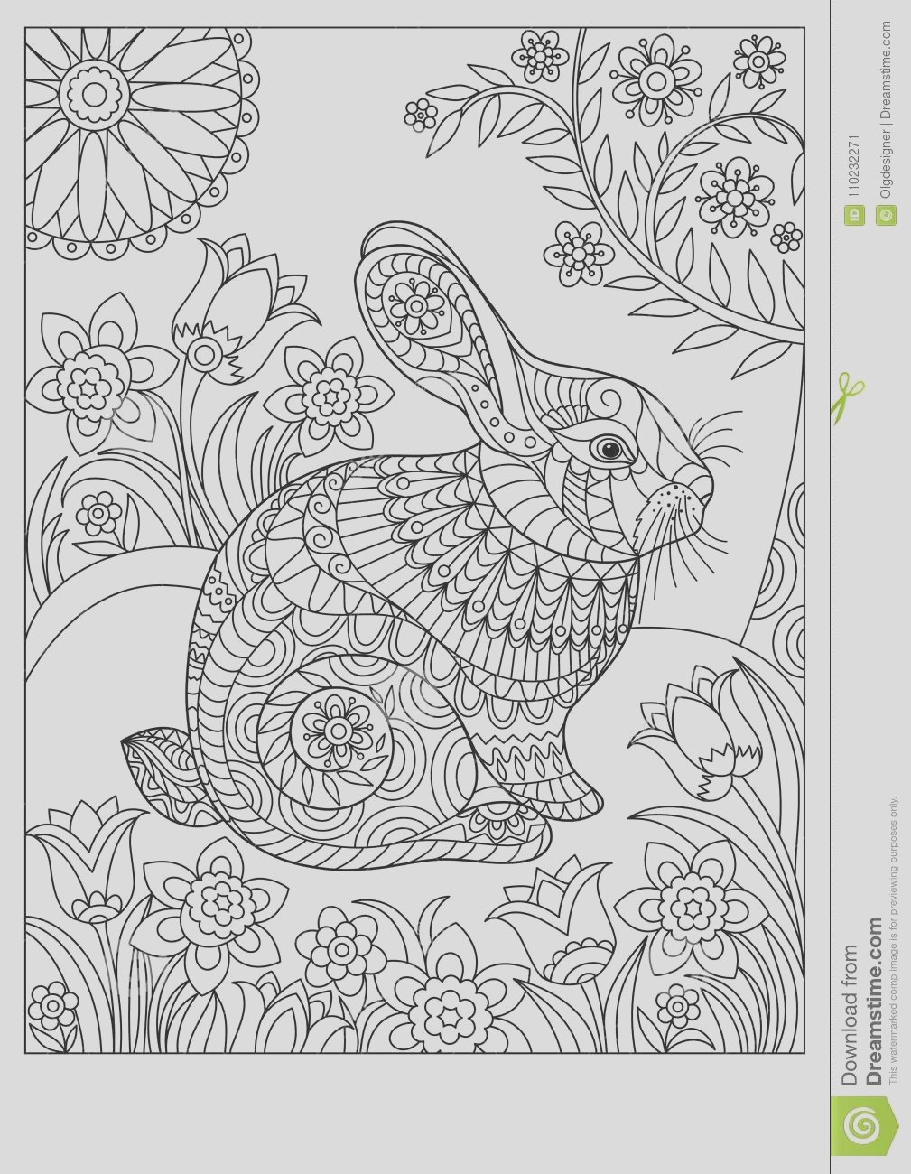 spring rabbit coloring page adult children easter background creative cute bunny black white vector illustration book image