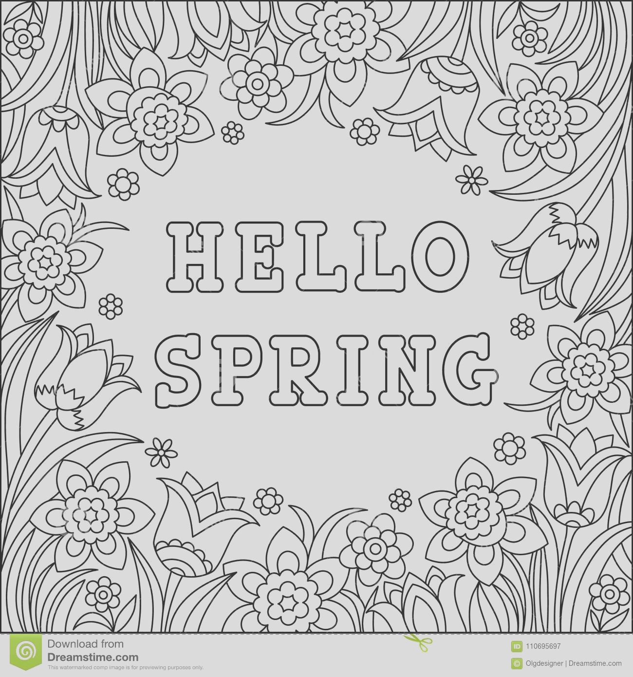 hello spring coloring page greeting card beautiful graphical flowers time background black white vector illustration image
