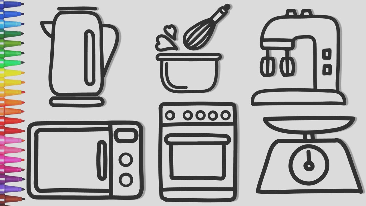 coloring kitchen appliances and fresh ve ables coloring pages and how to draw kitchen set