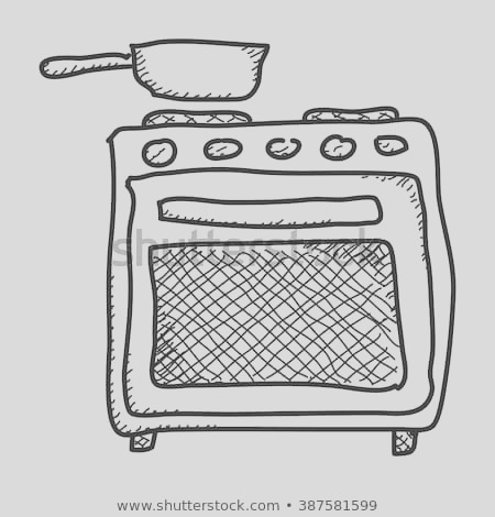 simple hand drawn doodle oven
