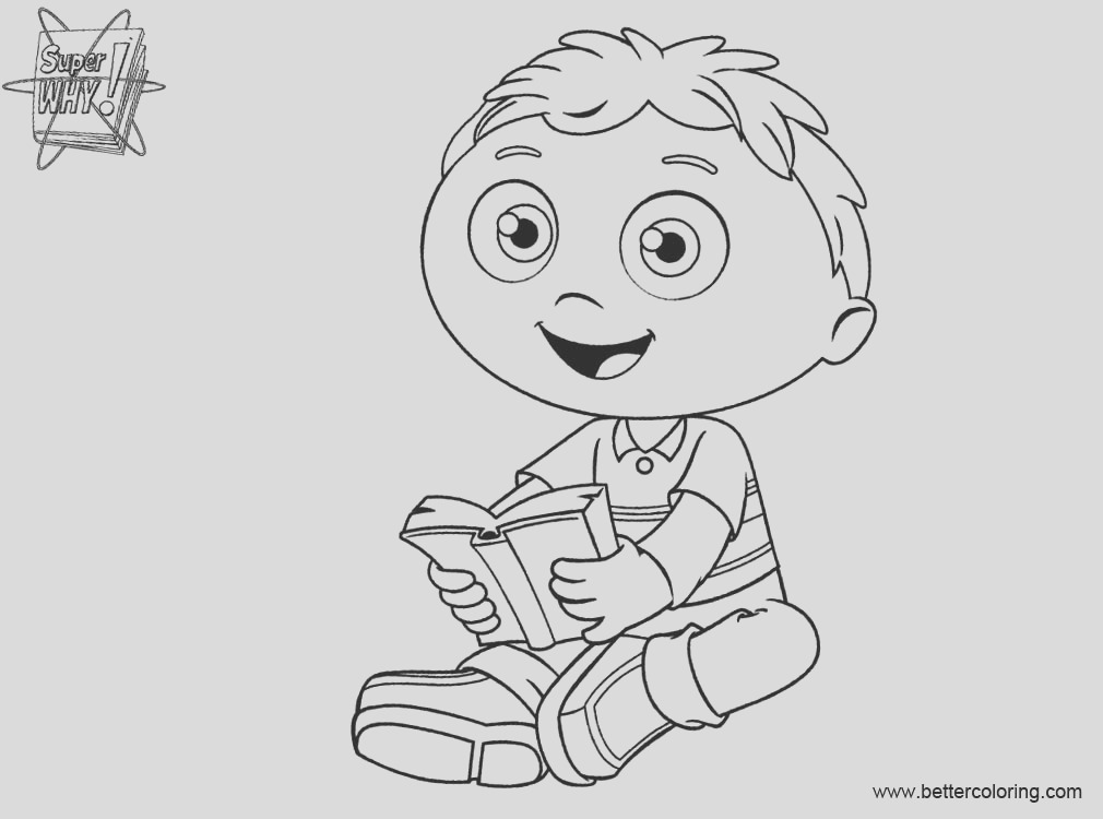 super why coloring pages reading a book