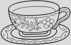 tea cup colouring page