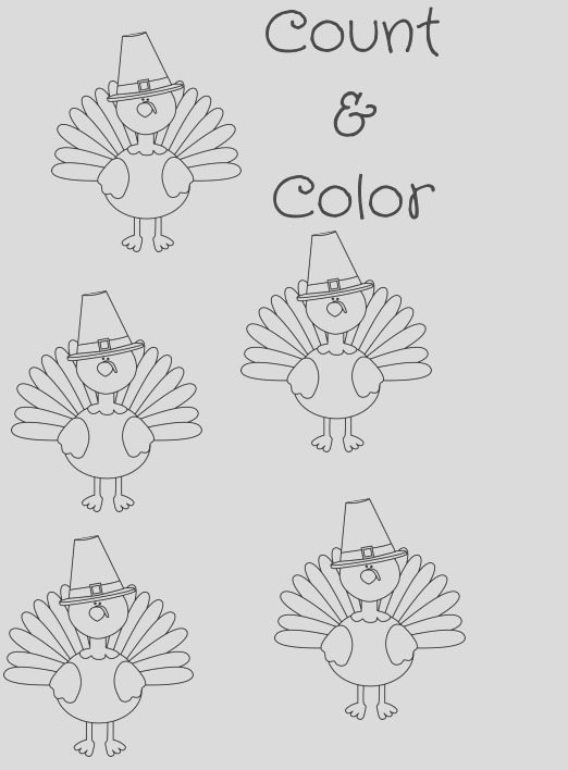 free turkey printable coloring sheet count color freebie