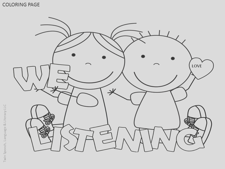 free speech therapy door signs coloring pages