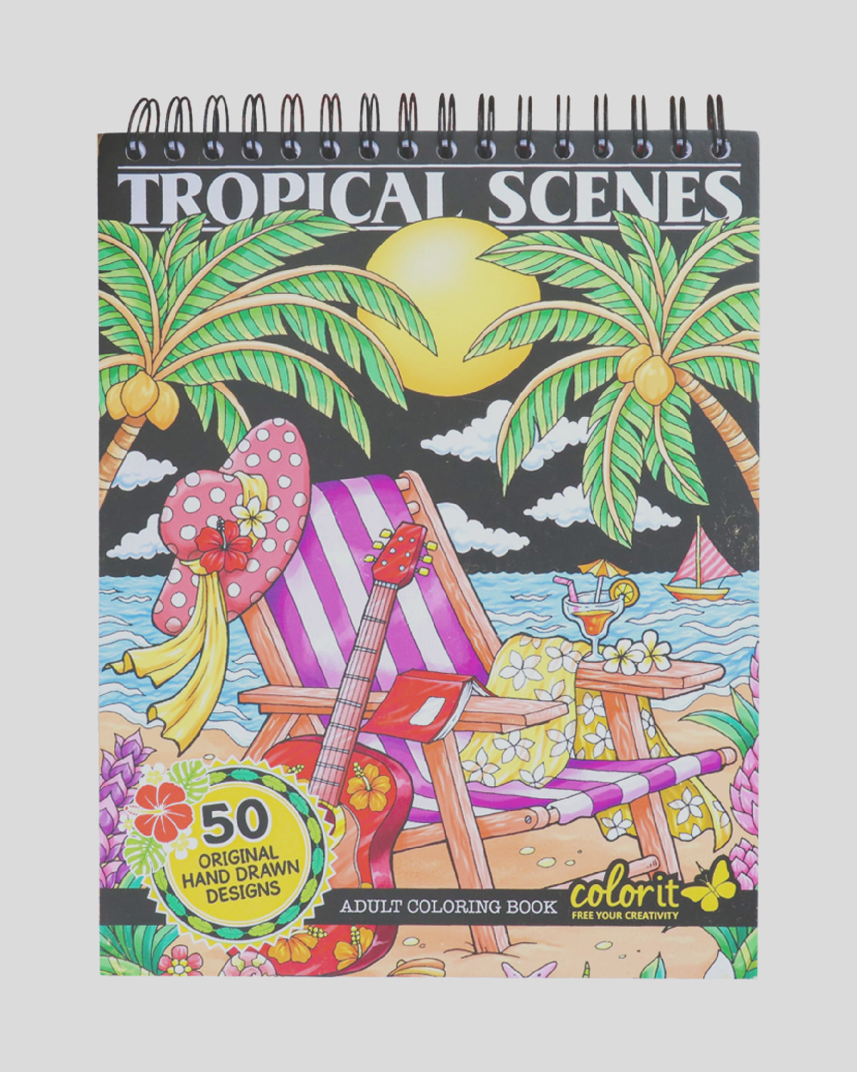 colorit colorful tropical scenes adult coloring book 50 single sided designs thick smooth paper lay flat hardback covers spiral bound