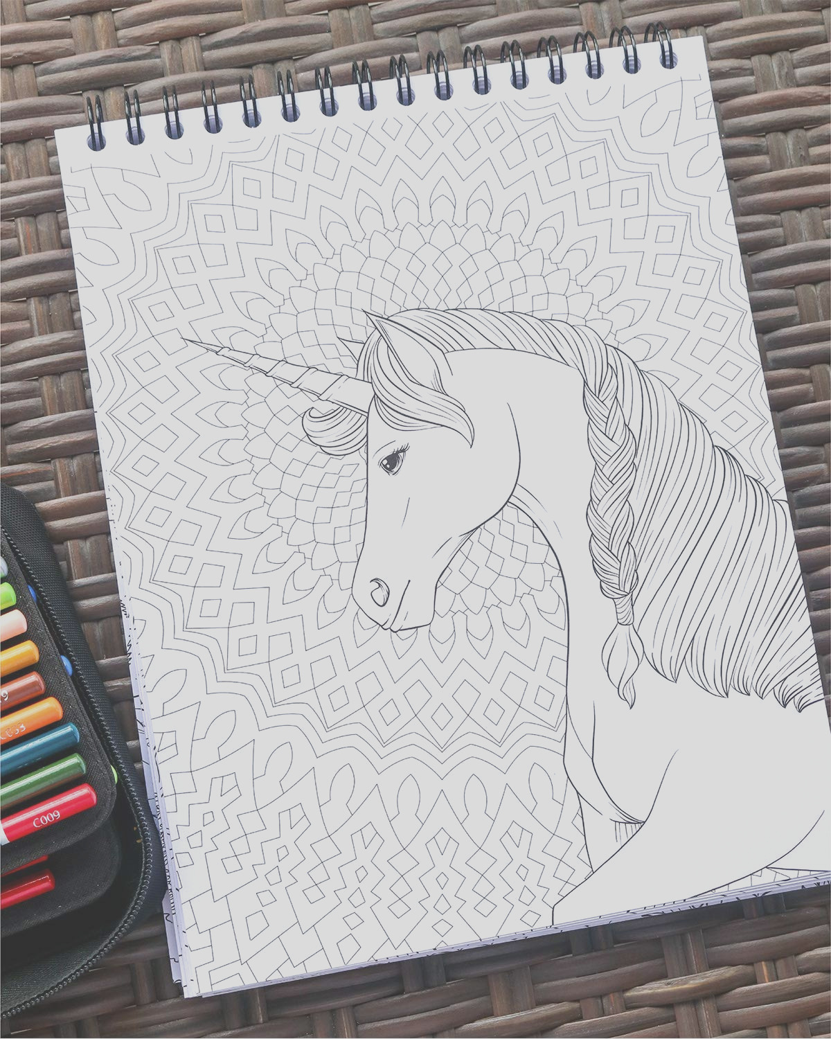 colorit colorful unicorns adult coloring book 50 single sided pages thick smooth paper lay flat hardback covers spiral bound usa printed hand drawn unicorn coloring pages