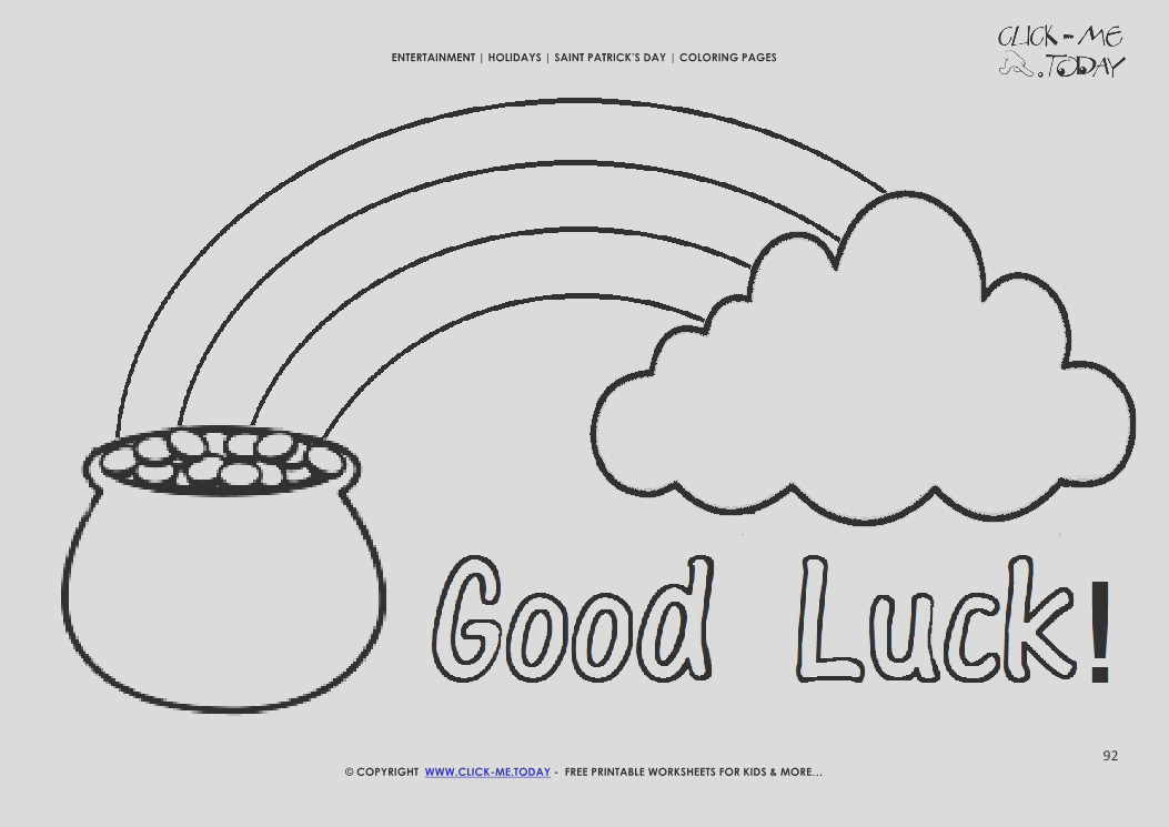 2775 st patrick s day coloring page 92 gold rainbow cloud good luck