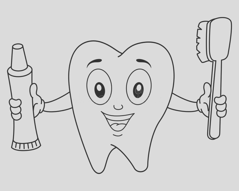 stock illustration coloring tooth toothbrush toothpaste illustration kids funny cartoon character holding isolated white image