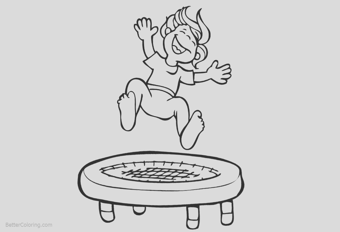 gymnastics coloring pages kids playing trampoline