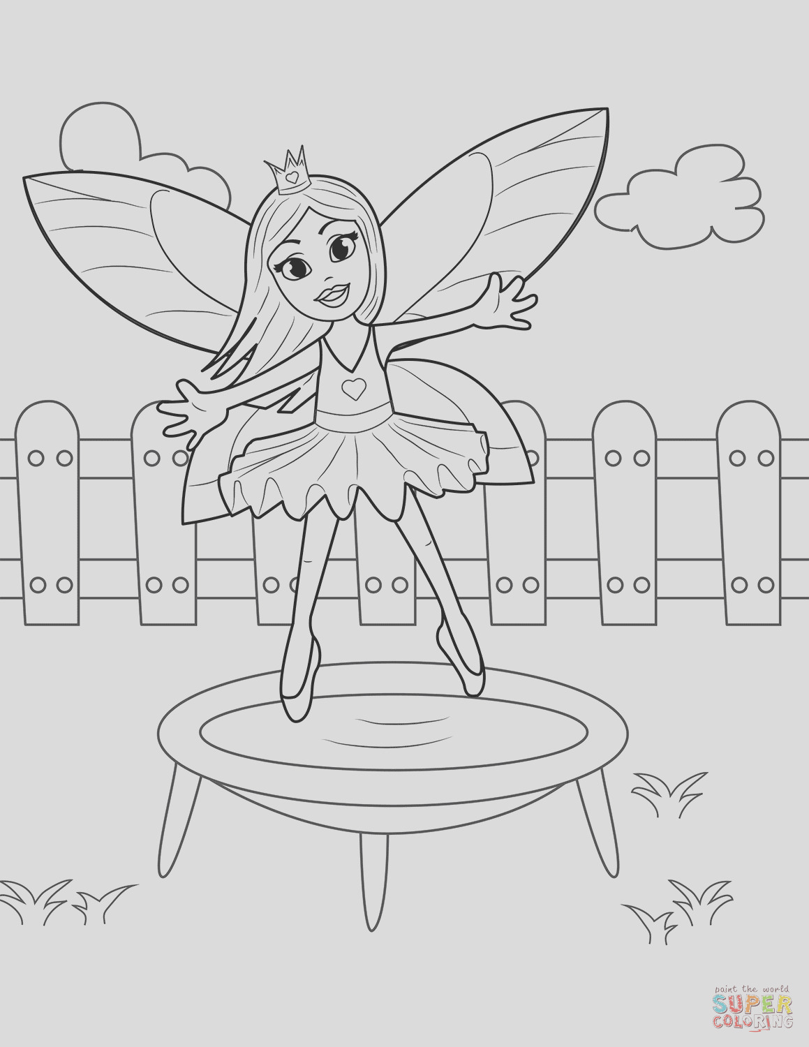 fairy jumping on trampoline