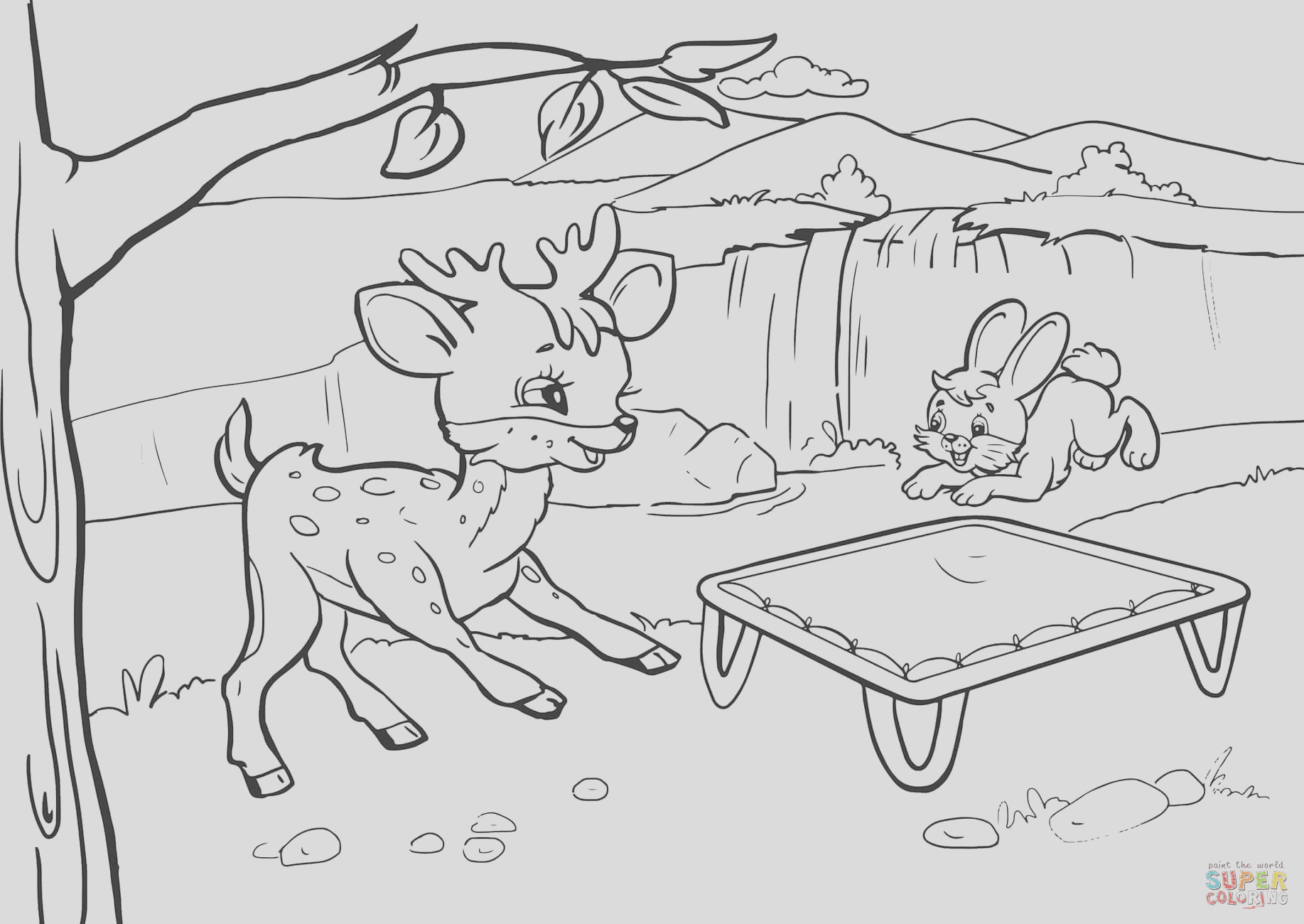 rabbit and deer are bouncing on a trampoline