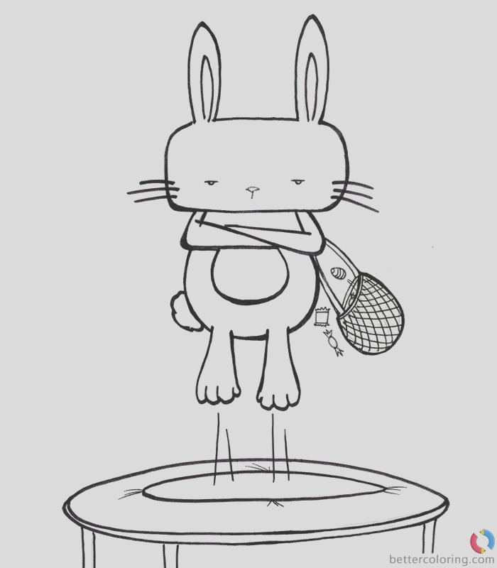hipster coloring pages bunny play trampoline