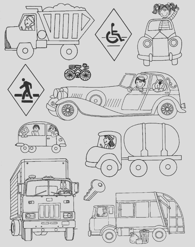 land transportation coloring pages kids
