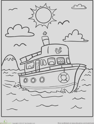 transportation coloring boat