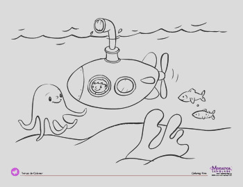Coloring Page Transportation Theme Submarine
