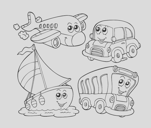kindergarten kids learn about transportation coloring page