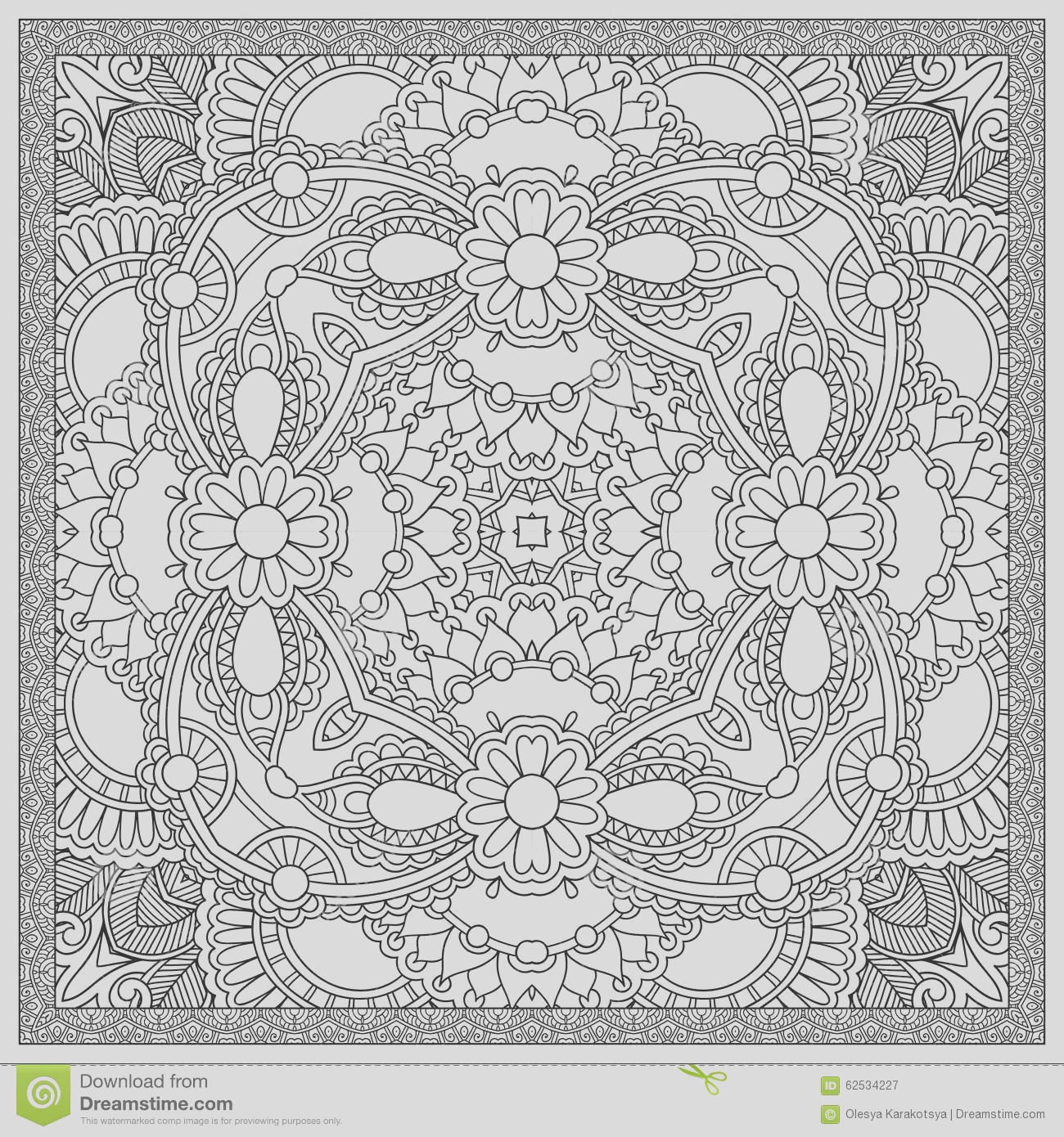 stock illustration unique coloring book square page adults floral authentic carpet design joy to older children adult colorists who like line image