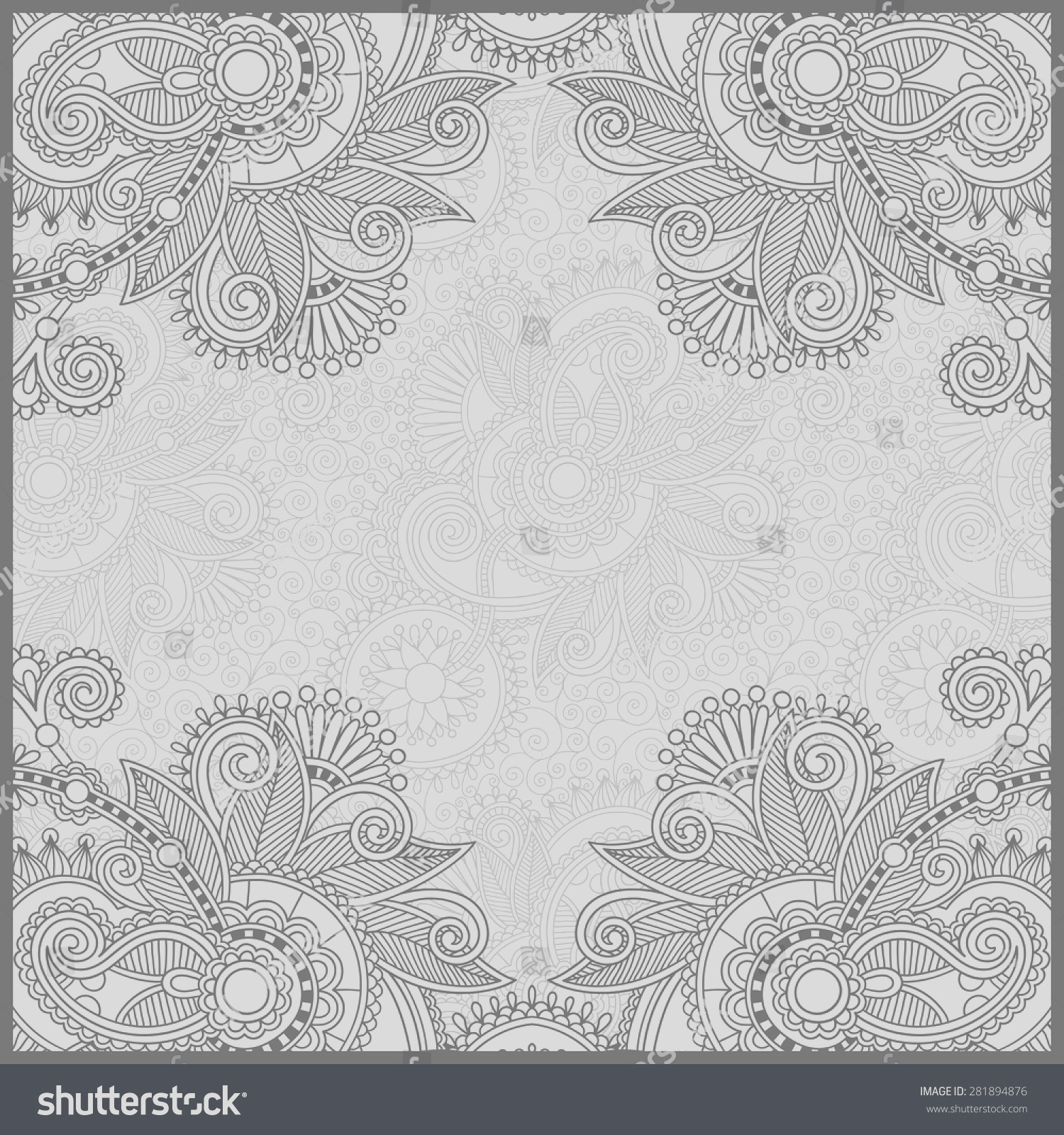stock vector unique coloring book square page for adults floral authentic carpet design joy to older children