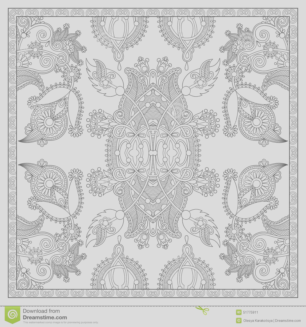 stock illustration unique coloring book square page adults floral carpet design joy to older children adult colorists who like line art image