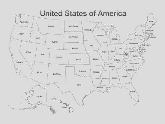 United States of America Map USA Coloring Art Poster Print Posters i