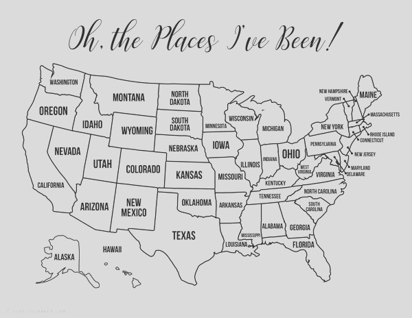 13 free printable usa travel maps for your bullet journal usa map coloring pages