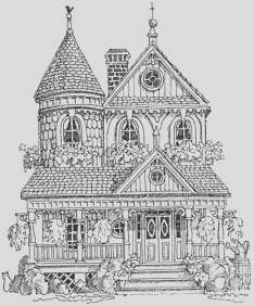 Impression Obsession Cling Mounted Rubber Stamp Victorian House p