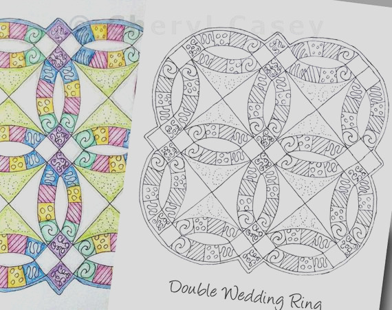 printable coloring page quilt double