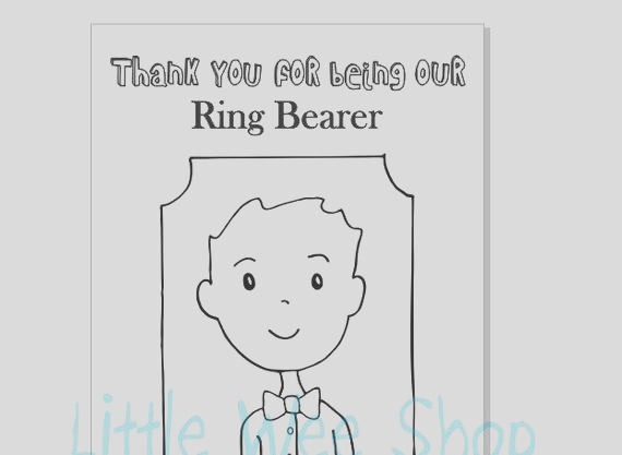 ring bearer coloring page wedding