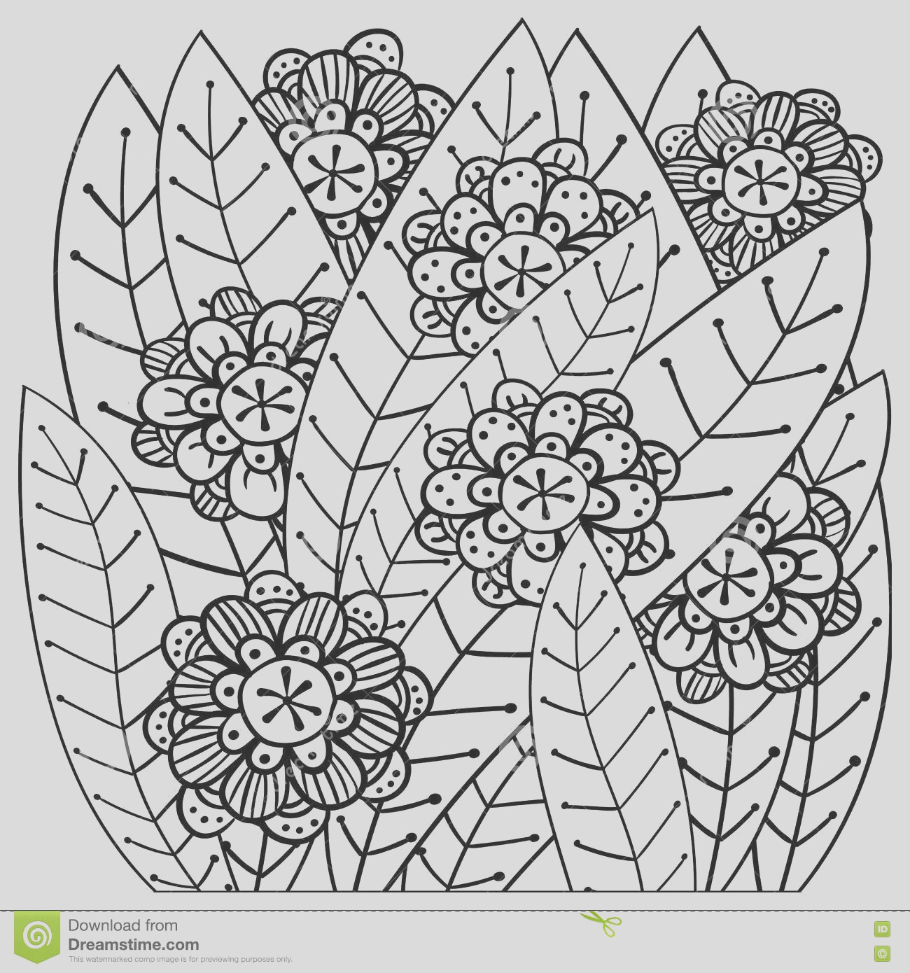 stock illustration whimsical garden adult coloring book page soft intricate pattern image