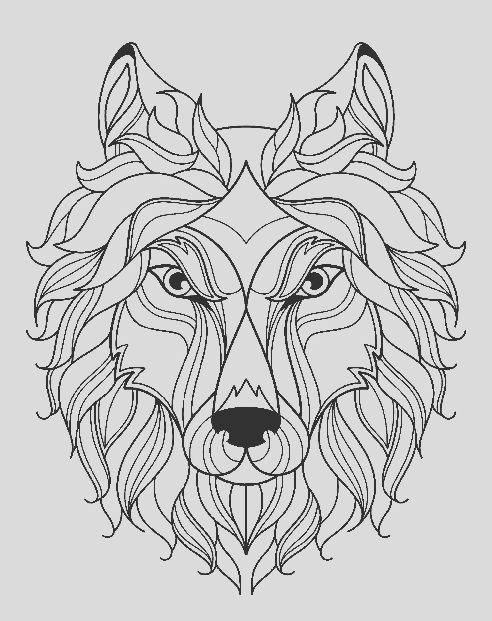 image=wolves coloring big wolf head simple 1