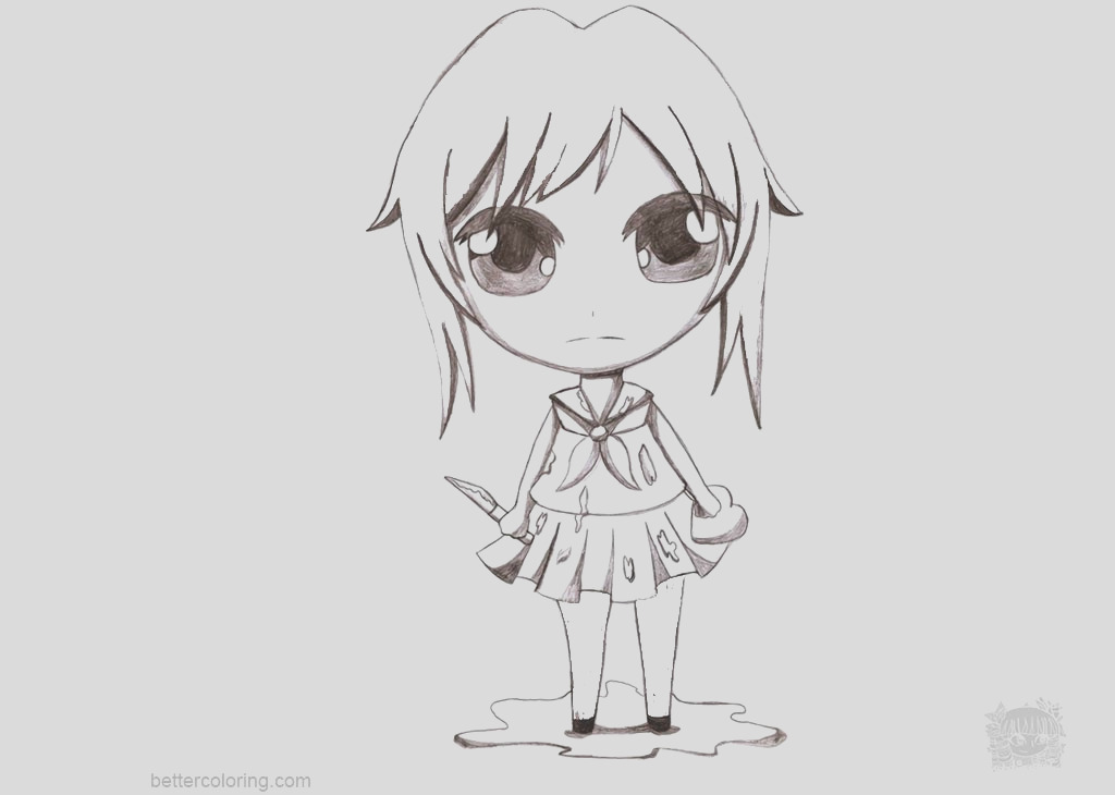yandere simulator coloring pages chibi yandere chan by aprict