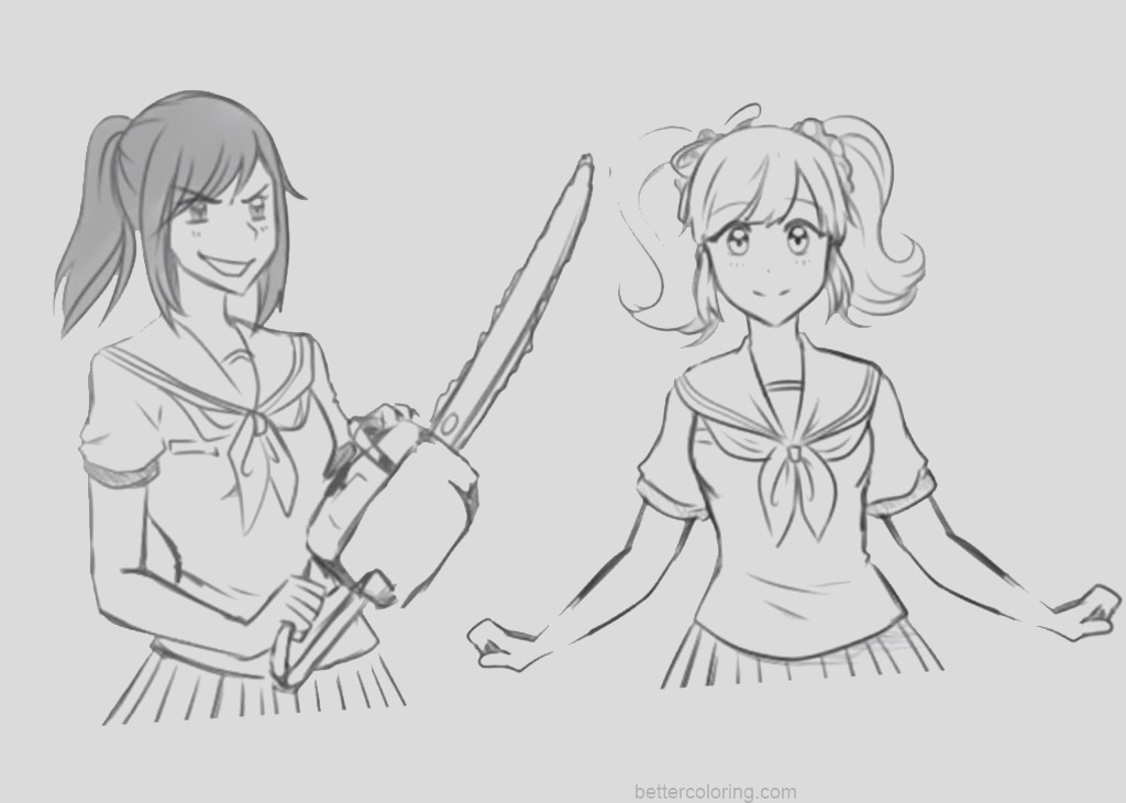 yandere simulator coloring pages hand drawing