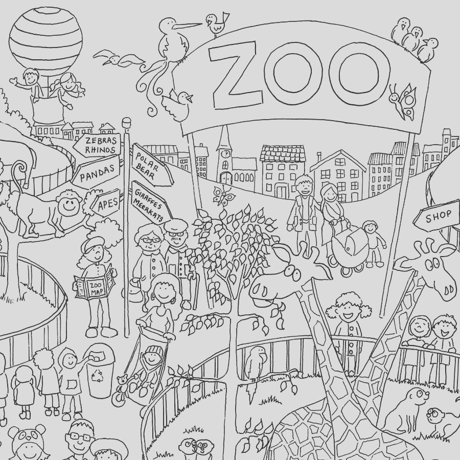 zoo colouring in poster